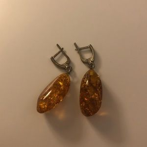 😊3/$20 Handmade Real Baltic Amber Drop Earrings
